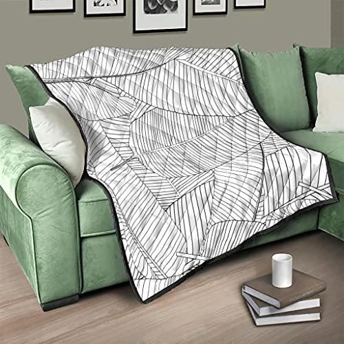 Flowerhome Colcha tropical con hojas de plátano, para cama o sofá, para dormir, para adultos y niños, color blanco, 180 x 200 cm