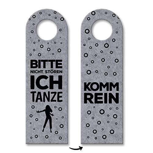 trendaffe - Bitte Nicht stören, ich tanze oder Komm rein Türhänger mit Tanz Motiv in Grau