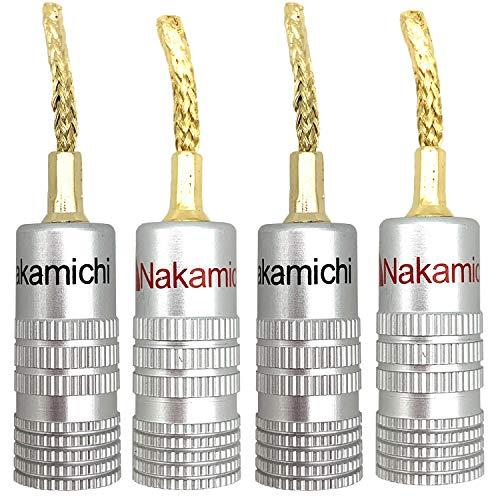 HKSMAN 4 Stück 2 mm Kupferdraht geflochten Gold Audio Verstärker Verdrahtung Stecker Bananenstecker verlustfreie Klangqualität korrosionsbeständig