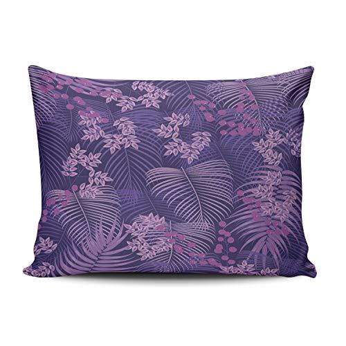 RGEMK Home Decor Sofa Pillowcase Cushion Cover Purple Palm Tree and Flower Tropical Leaves Throw Pillow Case Hidden Zipper One Side Printed Lumbar Size 12 x 20 Inch