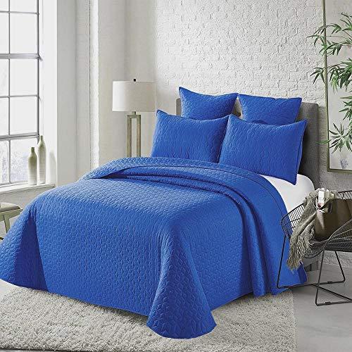 Colcha Bouti Castro Color Azul Cama 135 (235x260 cm). Incluye 2 Fundas de cojín.