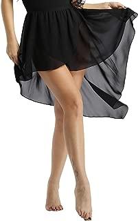 YONGHS Women's Asymmetrical Chiffon Skirt Ballet Dance High-Low Wrap Skirts Dancewear