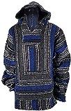 Yankee Forge X-Large Baja Shirt - Black & Dark Blue Stripe - Woven Hoodie - Soft Brushed Inside - Unisex Pullover