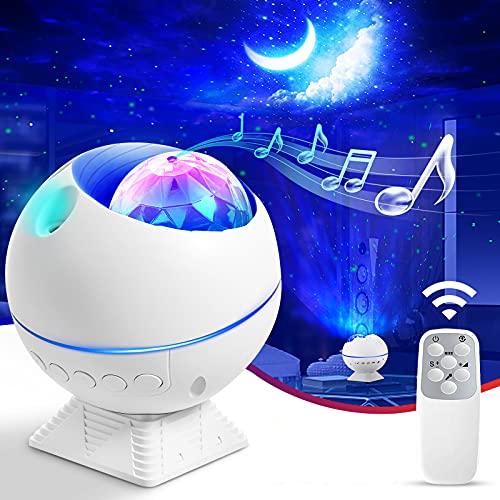 FOCHEA LED Sternenhimmel Projektor Lampe, Mini Ozeanwellen Sterne/Mond Projektor Nachtlicht, Nachthimmel Licht für Kinder, mit Fernbedienung, Atmosphäre Lampe für Party, Auto, Disco Schlafzimmer Deko