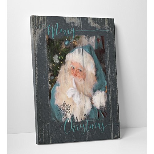 Wexford Home 'A 'A Teal Santa' Gallery Wrapped Canvas Wall Art, 24x32, A