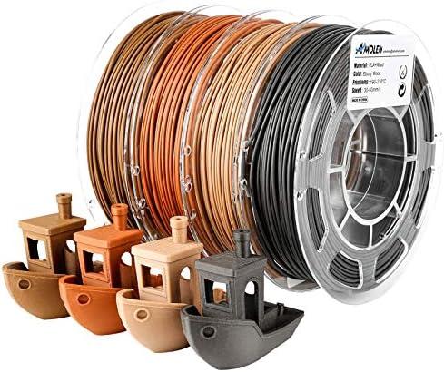 AMOLEN Wood Filament Bundle Walnut Bamboo Wood Red Wood Black Wood 3D Printer Filament PLA Filament product image