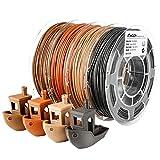 AMOLEN Wood Filament Bundle,Walnut,Bamboo Wood,Red Wood,Black Wood,3D Printer Filament,PLA Filament 1.75mm,200g/Spool