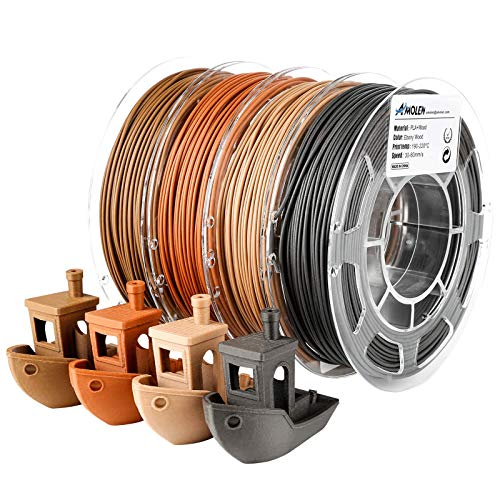 AMOLEN PLA Filament 1.75mm, Wood, Walnut Wood, Red Wood, Ebony Wood 3D Printer Filament, 3D Printing PLA Filament Set, 4x200g