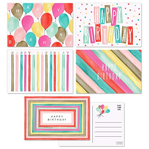 """Sweetzer & Orange Happy Birthday Postcards Pack (60 Post Cards) 4x6"""" Postcards for Kids and Adults. 300gsm Note Cards. Happy Birthday Cards Assortment Greeting Cards. Blank Birthday Cards"""
