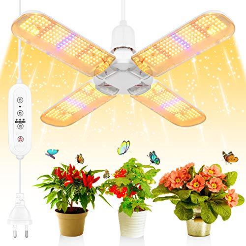 SINJIAlight 552 Pcs LEDs Pflanzenlampe,E27 200W Vollspektrum Pflanzenlicht Grow Lampe Glückskleeblatt 180° Einstellbar,9H/12H/15H Timing-Funktion,für Garten Zimmerpflanzen [Energieklasse A++] (200W)