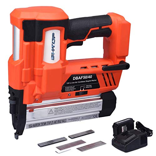 BHTOP Cordless Brad Nailer &Stapler, 2 in 1 18Ga Heavy Finish Nail Gun With 18Volt 2Ah Lithium-ion Rechargeable Battery(Charger and Carrying Case) (1Battery)