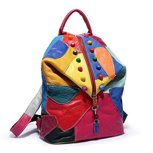 BACKPACKSS Damen Rucksack Splice Leder Daypack Wasserdichter Reißverschluss Lässig Reisen Einkaufen (Farbe : Bunte, größe : OneSize)