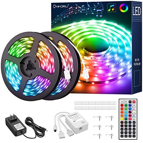 Onforu 66ft RGB LED Strip Lights, Music Synchronized Light Strip, Color Changing Room Lights with 44 Keys Remote and Timer, 5050 RGB Tape Light, DIY Multicolor Rope Light for Bedroom, Bar, TV, Party