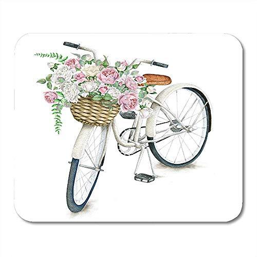 Muis Pads Rose Vintage Wit Fiets Met Bloem Mand Bike Market Mouse Pad Voor Notebooks Computers Muismatten