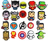 20 pcs Cartoon Superheroes Shoe Charms for Shoes with Holes & Bracelet Wristband Kids Party Birthday Gifts, None-Repeat Charms for Shoes, Bands Christmas Treats, Treasure Box Toys, Christmas Gift