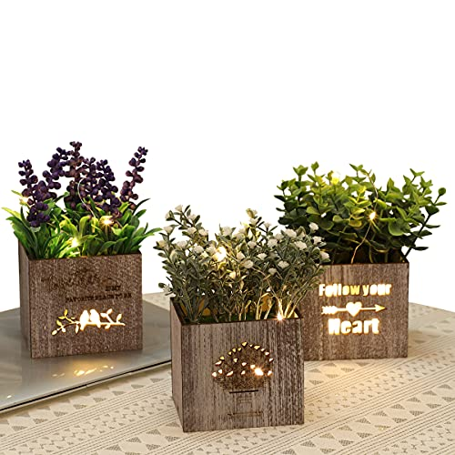 3Pcs Fake Flowers Plants with Lights in Wooden Pots Artificial Potted Plants Eucalyptus Lavender Greenery for Home Decor Indoor Shelf Tabletop Centerpiece Office Room Decoration