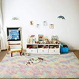 ST. BRIDGE Fluffy Soft Rainbow Area Rug, Anti-Skid Fuzzy Shag Fur Colorful Rugs for Kids Room Nursery Decor, Modern Indoor Home Living Room Floor Carpet for Children Girls Bedroom Rugs, 3 x 5 Feet
