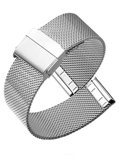 Reinherz時計バンド腕時計用ベルト防水ステンレス鋼光沢0.6網目スライド式バックルクラシックミラネーゼメッシュベルトメタルブレスバンドワンタッチバネ棒外し付属男女兼用(22mm,シルバー)