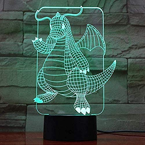 Led Nachtverlichting 3D, Cartoon Go Dragonite Figuur Led Nachtlampje Voor Kinderkamer Decor Licht Kerstcadeau Slaapkamer Lamp