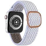 EWENYS Correa elástica de nylon ultraligera con patrón estampada, Cierre con estilo, compatible con Apple Watch Series 6 5 4 3 2 1 SE, 38mm/40mm, Blanca