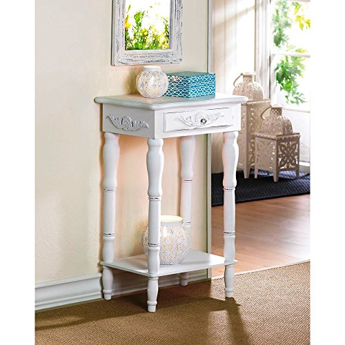 GetYourGiftHere Koehler Home Decor Accent Distressed White Wooden Telephone Table with Drawer