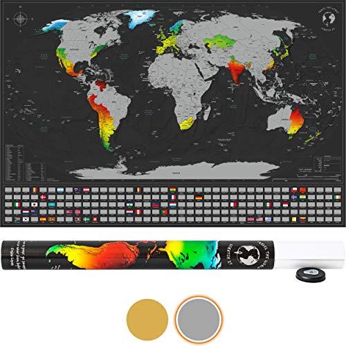 SCRATCH IT Weltkarte zum Rubbeln - Rubbel Landkarte - Poster XXL zum Freirubbeln inkl. Geschenkverpackung (Silber/Schwarz 84 x 55 cm Englisch - Made in Germany)