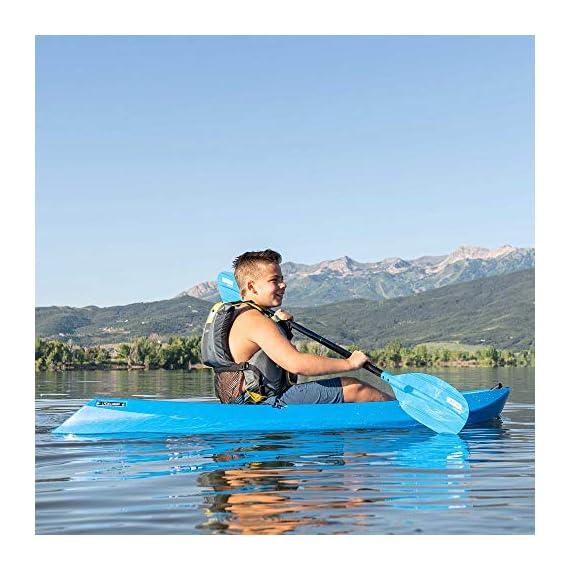 Lifetime Youth Wave Kayak (Paddle Included), Blue, 6' 5 Ergonomic Cockpit Design Enhances Balance and Motor Skills Molded finger handles on each side of the kayak Reverse chine for enhanced stability with swim-up step