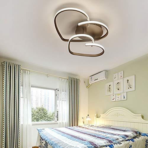 OUKANING Lámpara de Techo LED Moderna,Luz de techo de dormitorio con control remoto regulable,Lámpara en forma de corazón con control remoto Para dormitorio Sala de estar Restaurante,Marrón