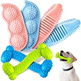 6 Pieces Puppy Bone-Shaped Chew Toy Puppy Teething Toys Rubber Chew Dog Pet Teething Toys for 2 - 8 Months Puppies Teeth Cleaning and Relieving Itching (Pink, Blue and Yellow Green)