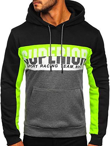 BOLF Herren Kapuzenpullover Pullover Sweatshirt Classic Sweater Pulli Langarmshirt Rundhalsausschnitt Aufdruck Crew Neck Longsleeve Fitness Sport J.Style KS2132 Schwarz L [1A1]