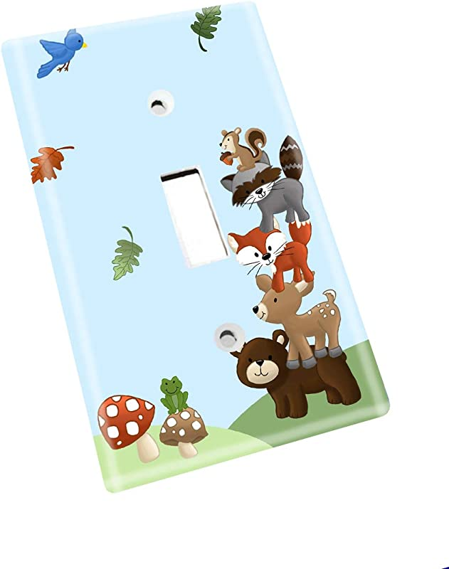 Forest Animal Woodland Friends Stacked Forest Critters Boys Bedroom Baby Nursery Single Light Switch Cover LS0021 Single Standard
