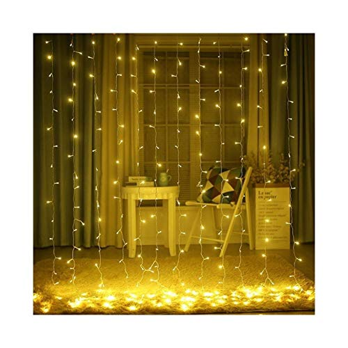 Outdoor String Lights 3X3M 300 LED Solar Powered Window Curtain String Light 8 Modes Outdoor Garden Patio Christmas Solar Garland Fairy Light Garden Decor ( Color : Warm White , Size : 3X3M 300LEDS )