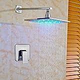 Grifos de ducha Set de ducha Ducha Sistema de ducha grifo mezclador LED que cambia de acabado de montaje en pared de cromo grifo de la ducha grifo de 16 pulgadas, Nombre de color: 8 pulgadas Sistema d
