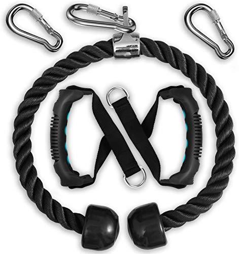 XREXS Trizepsseil Trizeps Push, 85cm Trizeps Seil Push Pull Down für Multi Gym, Kraftvolles Griffkabel mit Karabinerhaken, Arm-Krafttraining-Kombinationen für Physiotherapie, Rehabilitation