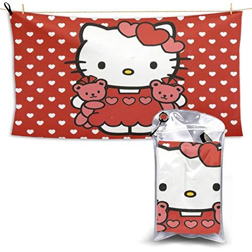 N / A Hello Kitty Schal Handtuch Towel Schnelltrocknende Handt¨¹Cher Leichtes Und Schnell Trocknendes Badetuch Reisetuch