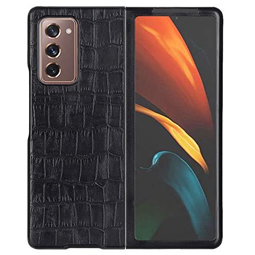 Kompatibel mit Galaxy W21 Handyhülle, Vorder- und Rückseite, echtes Leder, Schutzhüllen, für Samsung Galaxy Z Fold 2 5G (schwarz)
