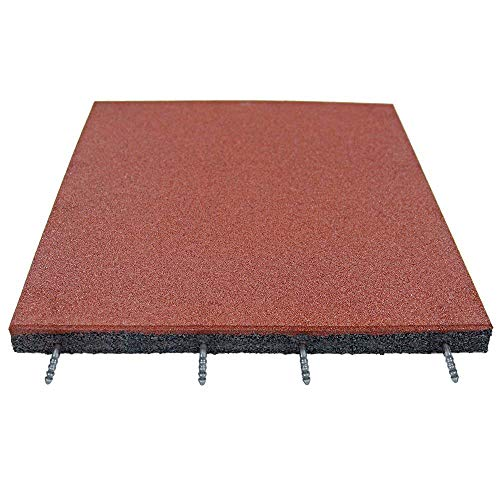 """RevTime Easy-DIY Ultra Thick Interlocking Outdoor Rubber Tiles 20"""" x 20"""" x 1 3/4"""", 45mm Thick for Playground, Outdoor Gym Floor, Sports Deck, Backyard Play Area (Pack of 2) Red"""