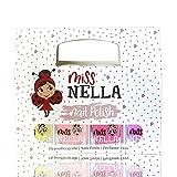 Miss Nella Sommerkollektion Nagellack Glitzer 4er Set: rosa, lila, Pfirsichfarbe & gelb, abziehbarer Nagellack speziell für Kinder, Peel-Off-Formel, ungiftig, wasserbasiert und...