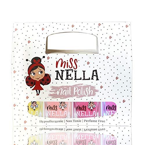 Miss Nella Sommerkollektion Nagellack Glitzer 4er Set: rosa, lila, Pfirsichfarbe & gelb, abziehbarer Nagellack speziell für Kinder, Peel-Off-Formel, ungiftig, wasserbasiert und geruchsneutral