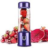 TTLIFE Licuadora portátil con USB 5200 mAh 450ml Licuadora personal Copa de Jucier de Glasse y acero inoxidable, para frutas, batidos de leche y alimentos para bebés, FDA/BPA gratis(purple)