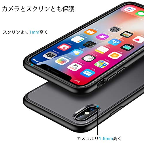 MeifignoiPhoneXs用ケースiPhoneX用ケースブラック[強化ガラスフィルム付き][軍事レベル認証]マット半透明ソフトなTPUエッジ+かたいPC裏側耐久性耐衝撃指紋防止ワイヤレス対応アイフォンX/Xs用カバー5.8インチ(ブラック)