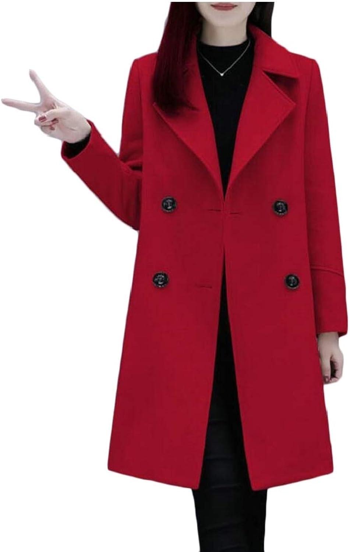 Jxfd Women's Trench Coat Double Breasted Jacket Solid Winter Outwear