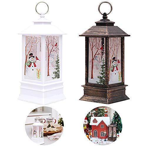 2 lanterne con candele di Natale, motivo con pupazzo di neve, decorazione natalizia