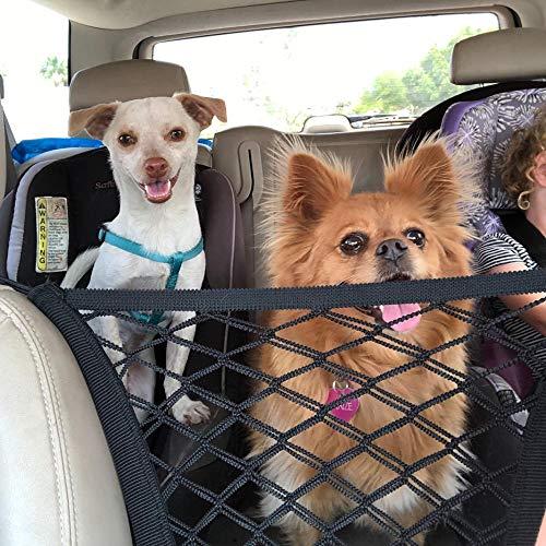 Bolsa de almacenamiento para coche, 2 capas de malla de carga para coche, soporte para bolsa de protección de coche para mascotas, apto para equipaje y protección de niños