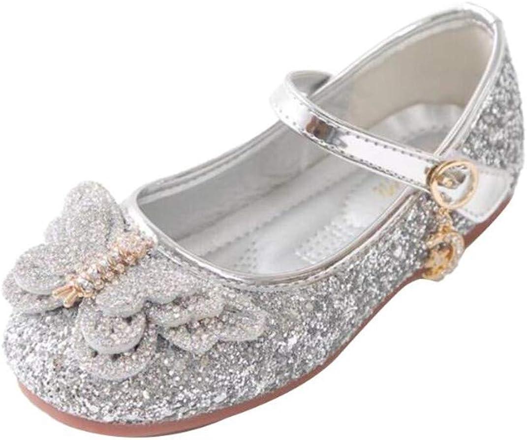 JGKDTX Girl's Ballerina Ballet Flats Glitter Mary Jane Slip-on Flower Dress Shoes(Toddler/Little Kid)