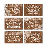24 Rustic Wood Thank You Cards With Envelopes, Great Note For Adult Funeral Sympathy or Gift Gratitude Supplies For Grad, Birthday, Baby or Country Western Bridal Wedding Shower For Boy or Girl Kid