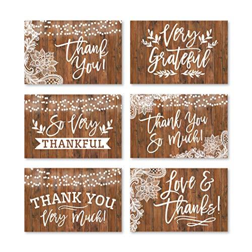 24 tarjetas de agradecimiento de madera rústica con sobres, ideal para adultos o como regalo de agradecimiento, para graduación, cumpleaños, bebé o campo, fiesta de bodas para niños o niñas