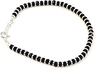 Nemichand Jewels Sterling Silver Nazariya with Black Crystals for Women 92.5% Pure Silver Bracelet for Women (7 inch + Ext...