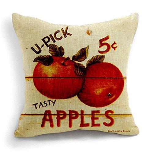 1ZMountletstore Apple Frutas Cuadrado Manta Decorativa Funda de Almohada decoración cojín sofá y Cama Coche 18x 18Cuadrado
