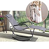 ZHEN GUO Folding Rocking Chair Orbital Lounger with Pillow and Footrest, Lounge Chair Recliner Chair, Foldable Outdoor Zero Gravity Chair for Camping, Fishing, Beach, Patio (Color : Gray)